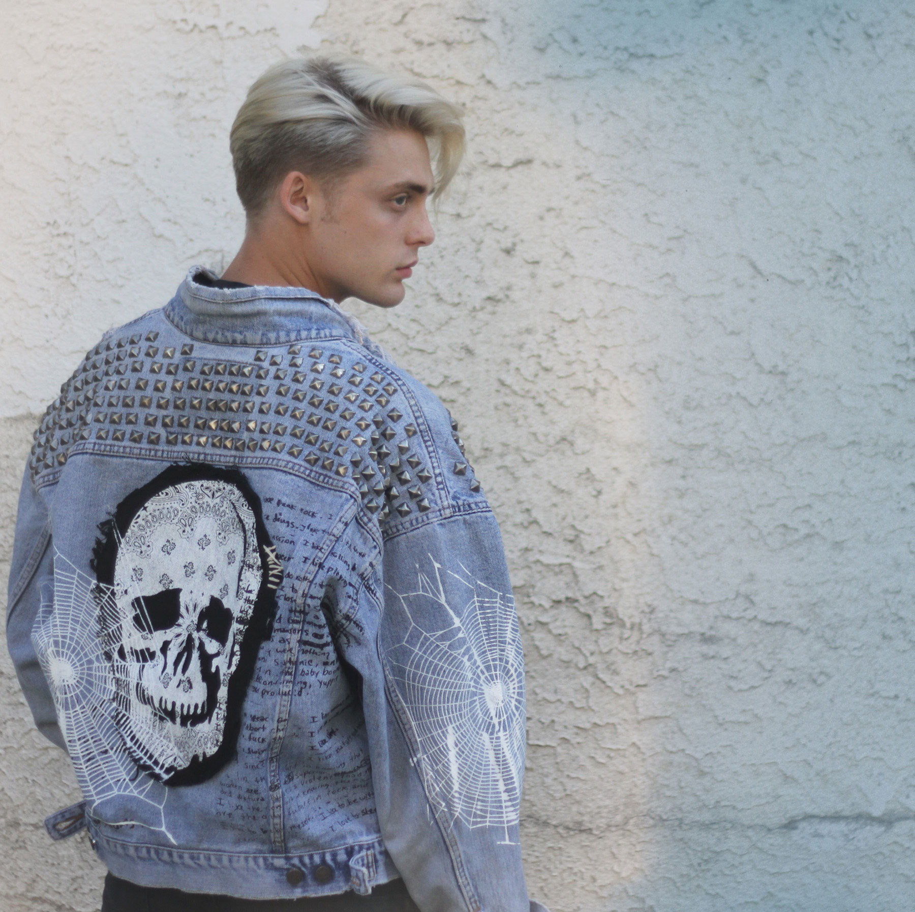 Custom Skull Denim Jacket Drones Clothing